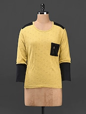 Cotton Knitted Full Sleeve Color Block Top - Butterfly Wears