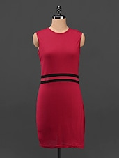 Red Sleeveless Stripe Waist Bodycon Dress - Butterfly Wears
