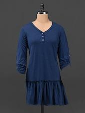 Solid Navy Blue Bottom Flared Dress - Butterfly Wears