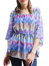 Printed Three Quarter Sleeves  Georgette Top - Meiro