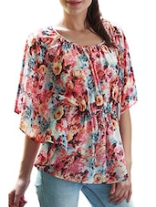 Floral Printed Round Neck Georgette Top - Meiro