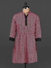 Chevron Print Polycrepe Dress - CINDRELLA