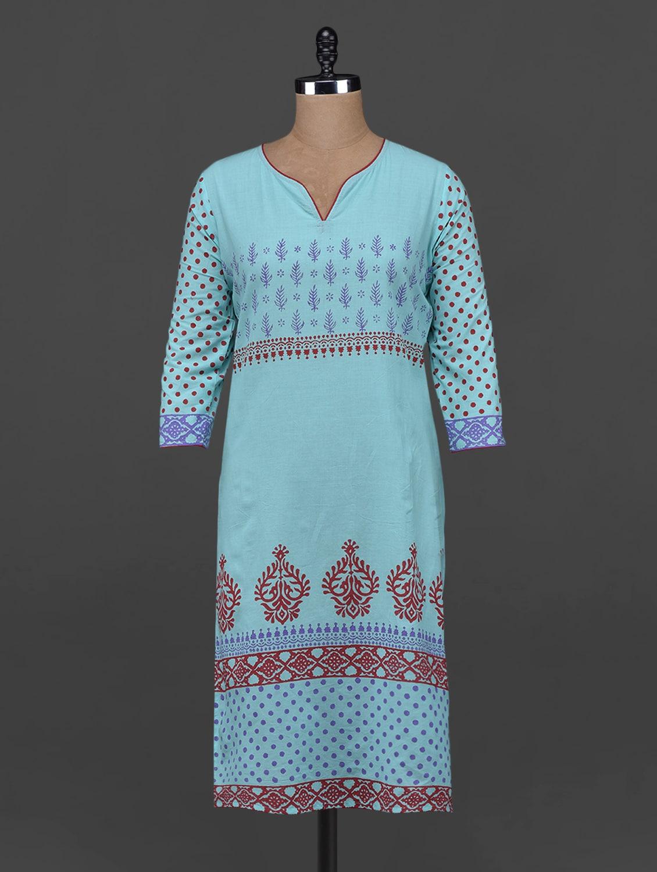Quarter Sleeve Block Printed Kurta - Aamii