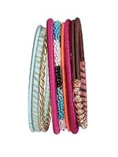 Resham Threaded Multi Colour Bangle Set - By