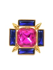 fuschia  blue brass & swarovski elements ring -  online shopping for rings