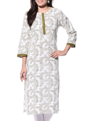 White hand block print cotton straight kurta