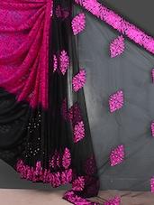 Black Embroidered Georgette Saree - GARG FASHION