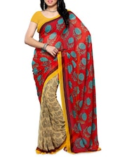 Printed Red And Beige Chiffon Saree - Ambaji