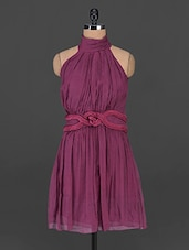 Wine Halter-neck Chiffon Dress - MARMALADE