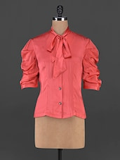 Coral Satin Shirt With Neck Tie-up - MARMALADE