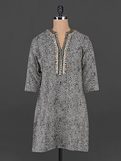 Black Printed Tunic With Embellished Neckline - MARMALADE