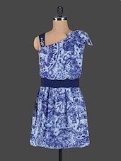 Blue Printed Dress With Ruffled Shoulder - MARMALADE