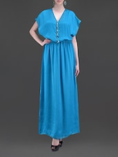 Blue Embellished Poly Georgette Maxi Dress - MARMALADE