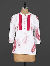 White Cotton Paisley Printed Short Kurti - Y.C.