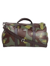 Green Camouflage Printed Leatherette Duffle Bag - YELLOE