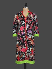 Floral Print Button-up Sleeves Cotton Kurti - Drashti