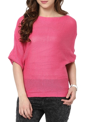 pink polyester pullover