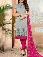 grey chanderi unstitched suit -  online shopping for Unstitched Suits