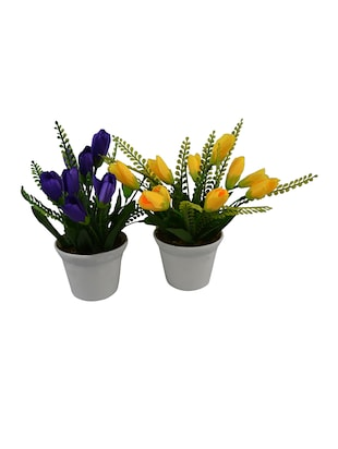 (Set Of 2) Artificial Mini Tulip Flower With Pot
