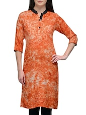 Orange Rayon Regular Kurta - By