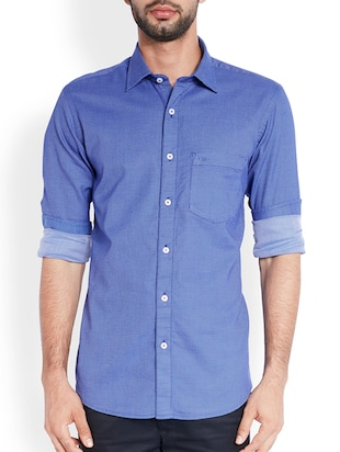 medium blue cotton casual shirt -  online shopping for casual shirts