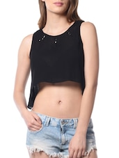 black rayon crop  top -  online shopping for Tops