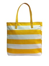 Yellow And White Striped Canvas Handbag - Carry On Bags