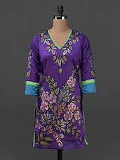 Block Printed Silk Blend  Kurta With Hand Bag - Lavennder