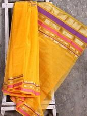 Zari Woven Border Yellow Saree - Shiva Saree