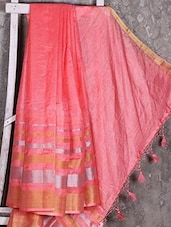 Shiny Striped Peach Manipuri Net Saree - Shiva Saree