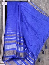 Shiny Striped Blue Manipuri Net Saree - Shiva Saree