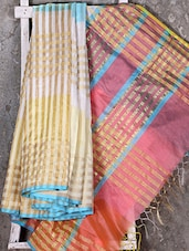Multicolor Golden Woven Stripe Kora Saree - Shiva Saree