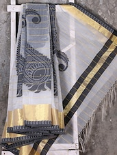 Woven Paisley Zari Border Kora Saree - Shiva Saree