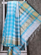 Woven Checked Sky Blue Saree - Shiva Saree