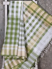 Woven Checked Green Saree - Shiva Saree