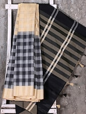 Woven Checked Black Saree - Shiva Saree