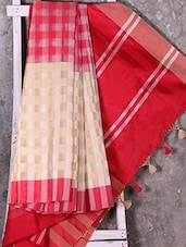 Red Woven Checked Saree - Shiva Saree