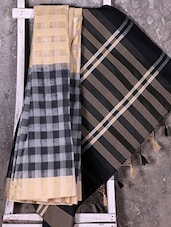 Black Woven Checked Saree - Shiva Saree