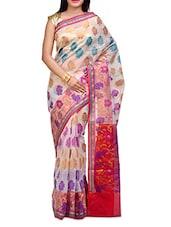 White Handwoven Cotton Silk Saree - SSPK