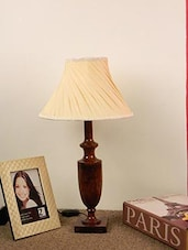 MANGO WOOD CLASSIC TABLE LAMP WITH PLEATED SHADE- OFF WHITE - By
