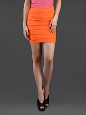 Orange Self Striped Pencil Skirt Cum Tube Top - N-Gal