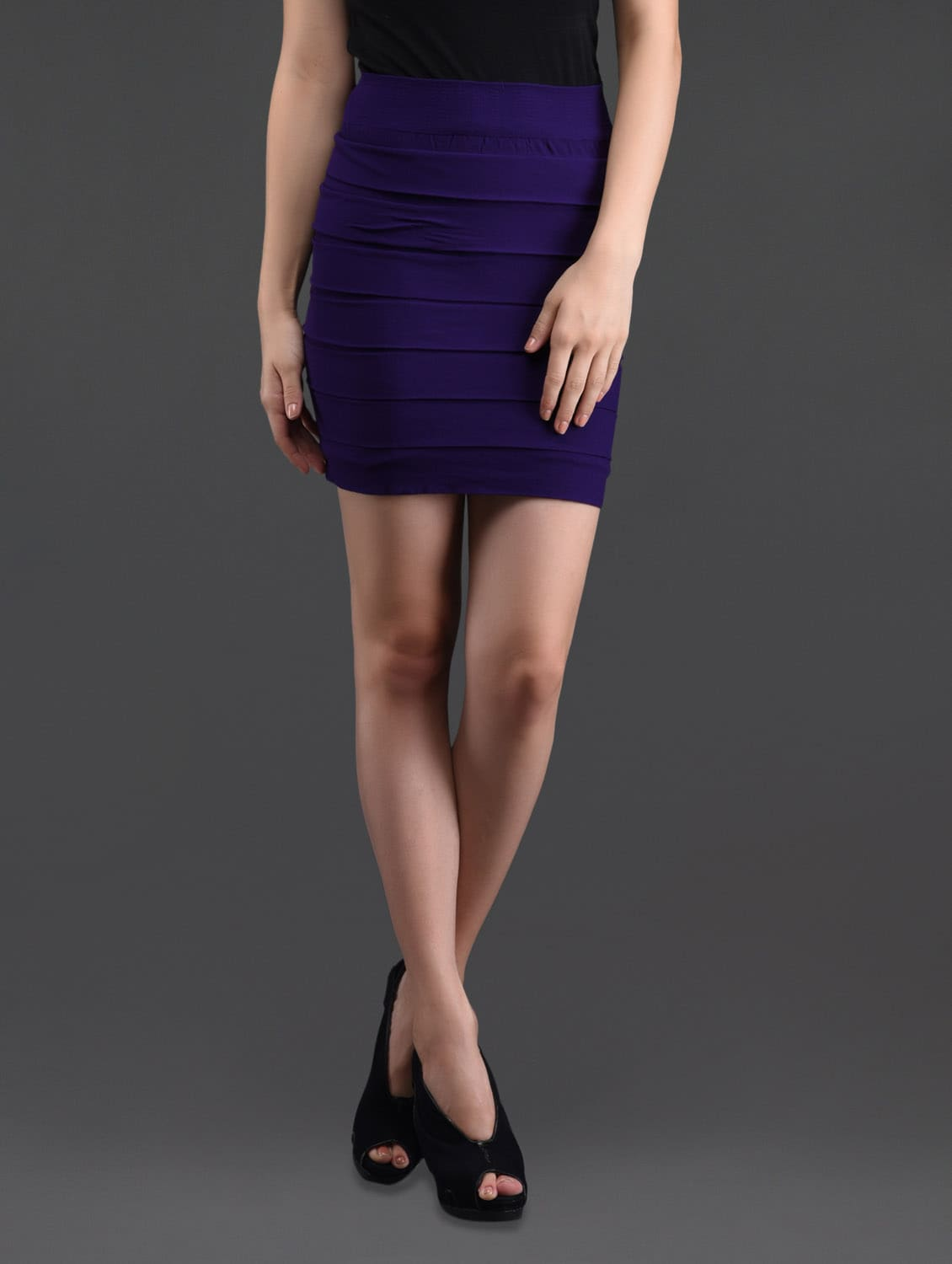 Purple Self Striped Pencil Skirt Cum Tube Top - N-Gal