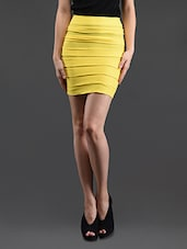Yellow Self Striped Pencil Skirt Cum Tube Top - N-Gal