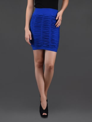 blue gathered pencil skirt cum tube top