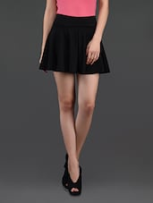 Black Flared Cotton Mini Skirt - N-Gal