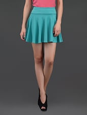 Sky Blue Flared Cotton Mini Skirt - N-Gal