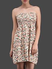 Floral Print Chiffon Strapless Tube Dress - N-Gal