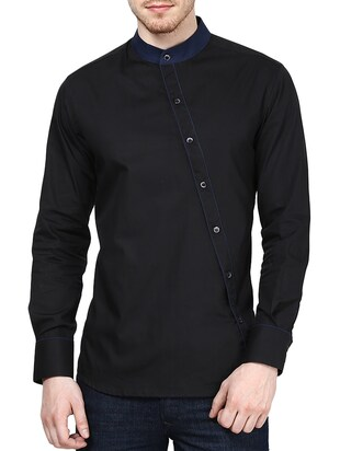 solid black cotton casual shirt