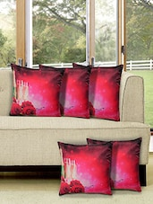Red Polycotton Combos Set Of 5 Cushion Cover - By