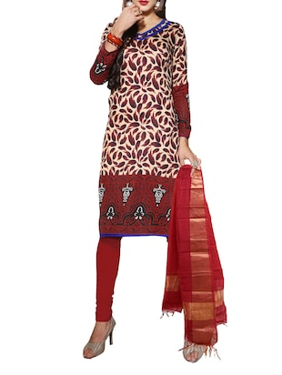multi colored bhagalpuri, poly blend unstitched suit